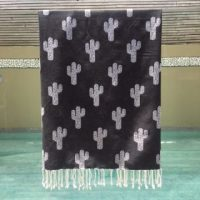 Beach Towel with Cactus Design