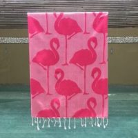 Noosa Beach Towel with Pink Flamingo Design