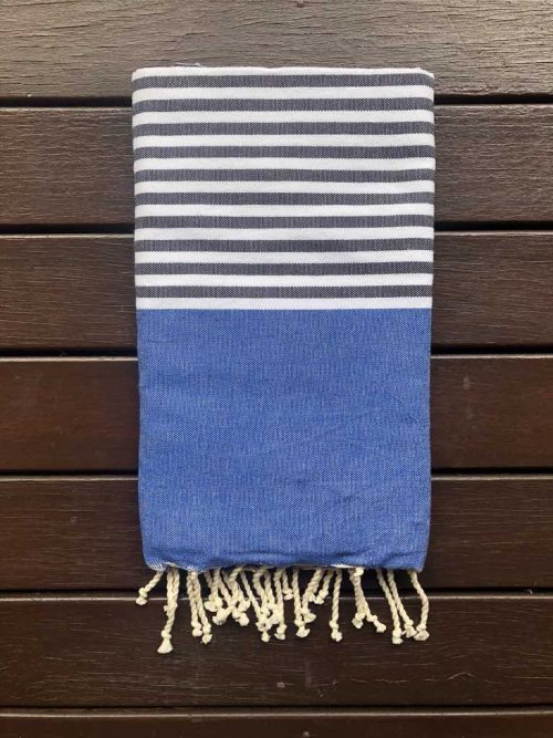 Blue and Grey striped Beach Towel