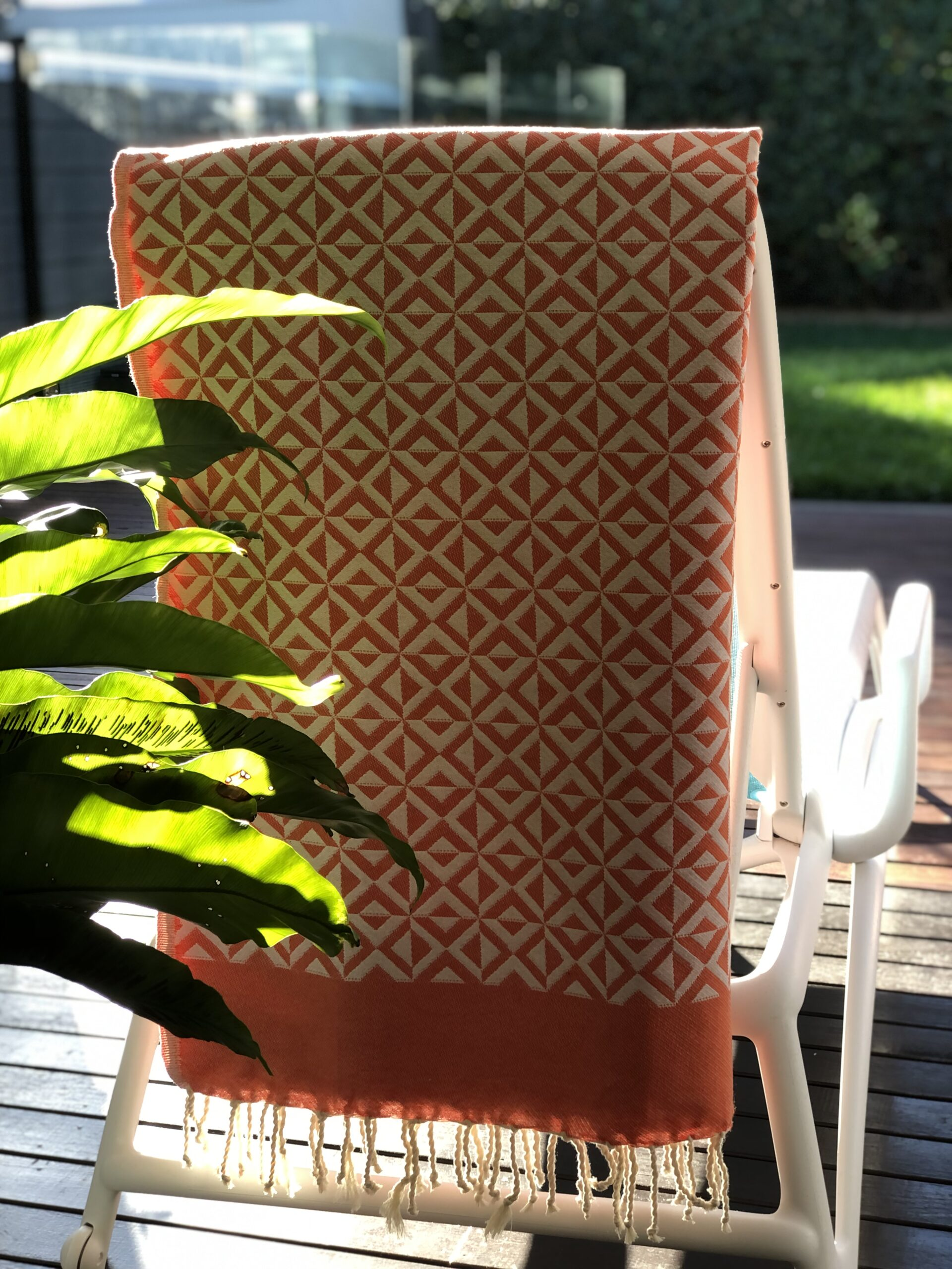 Geometric Towel over a deck chair